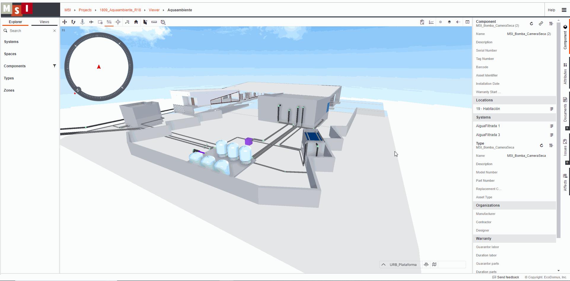 Imagen 3. Interfaz de visualizador 3D de EcoDomus. Fuente propia.