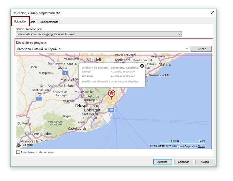 Imagen 1. Pestana Gestionar Ubicacion de proyecto Ubicacion Servicio de informacion geografica via Internet. Fuente propia.