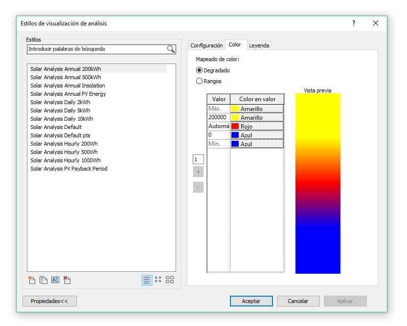 Imagen 6. Plug in Insight en Revit Pestana Analizar Solar Style. Fuente propia