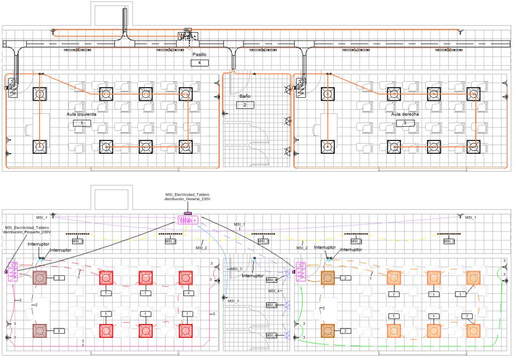 Img.1 Mismo modelo con la instalacion electrica representada de forma geometrica arriba y analitica abajo