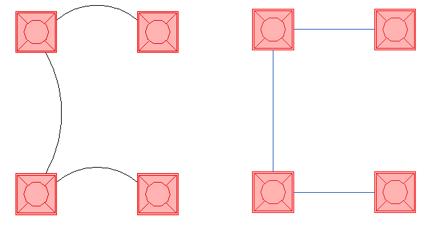 Img.3 Cable en arco izquierda cable en chaflan derecha 1