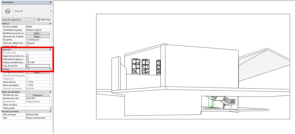 Imagen 2. Activacion de la caja de seccion en paleta de propiedades. Fuente propia