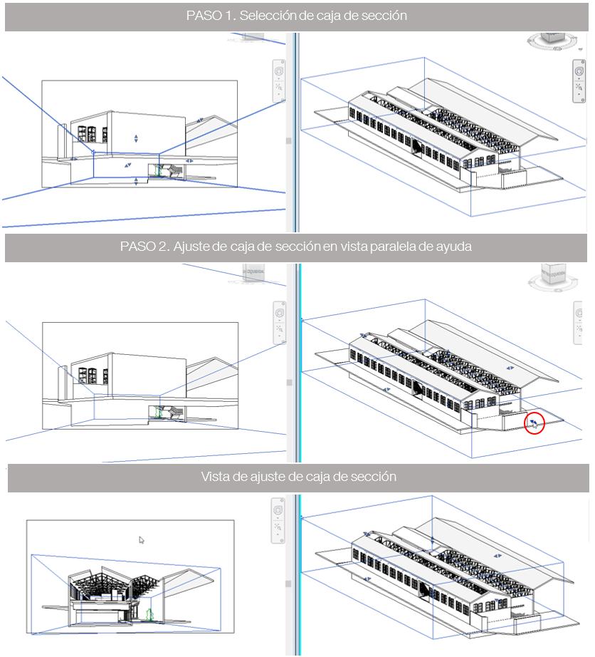 Imagen 3 Secuencia de pasos para ajustar la seccion en la vista de camara. Fuente propia